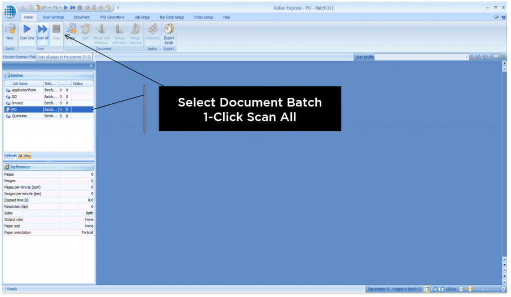 Select Document Batch: 1-Click to Scan All