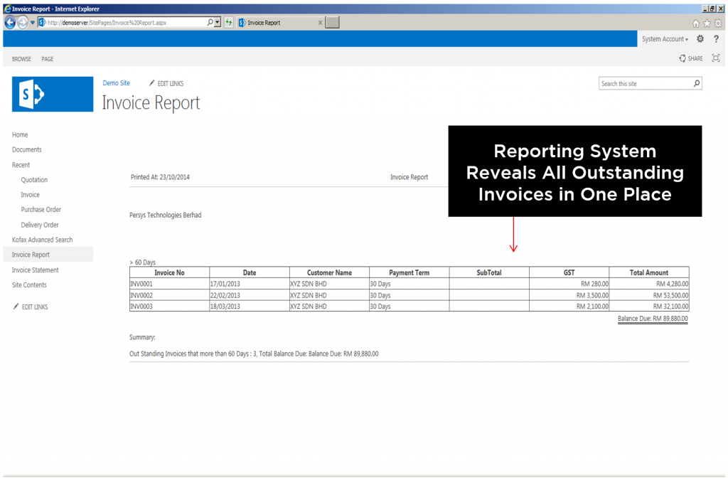 Reporting System Reveals All Outstanding Invoices in One Place