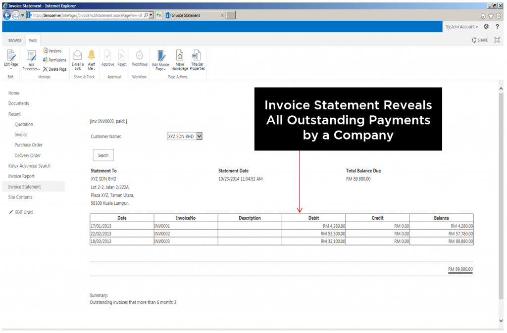 Invoice Statement Reveals All Outstanding Payments by a Company